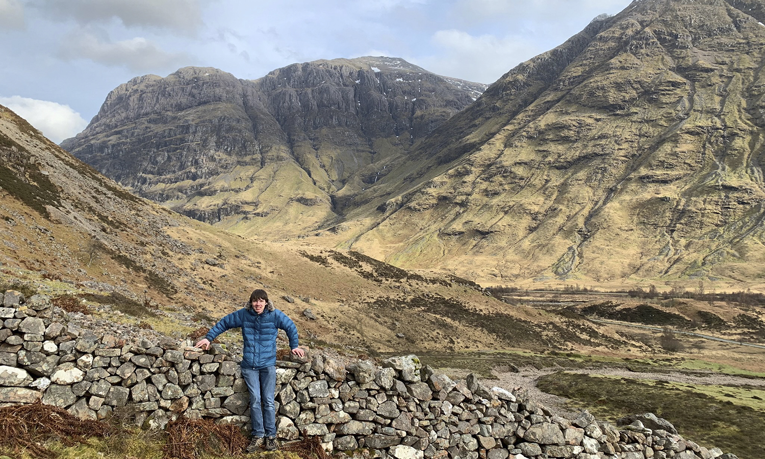 Brian Schaumloffel '20 hikes in the Scottish highlands near Glencoe while studying abroad in Glasgow, Scotland.