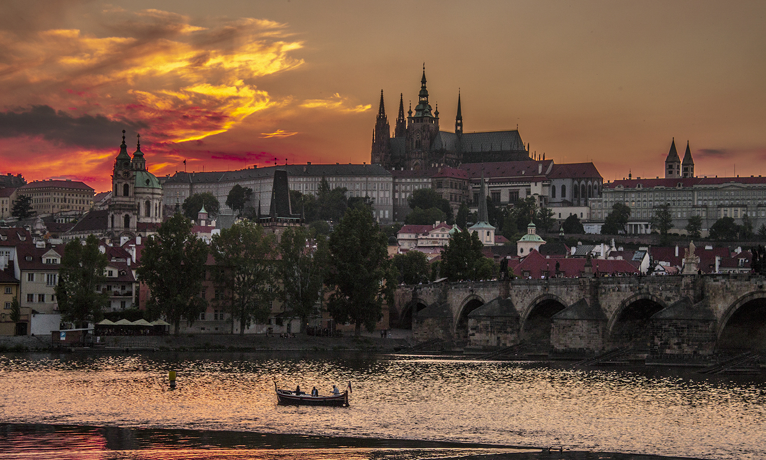 While studying abroad, Tanner Poisson '19 captures Mal· Strana and Prague Castle at sunset.