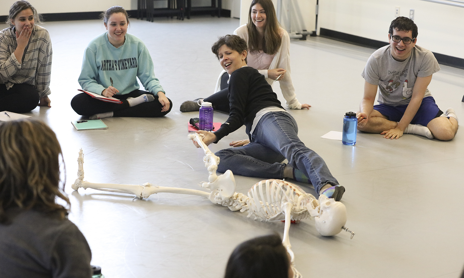 """Associate Professor of Dance Cadence Whittier speaks reviews X with students as part of """"X"""" in the Gearan Center for the Performing Arts."""