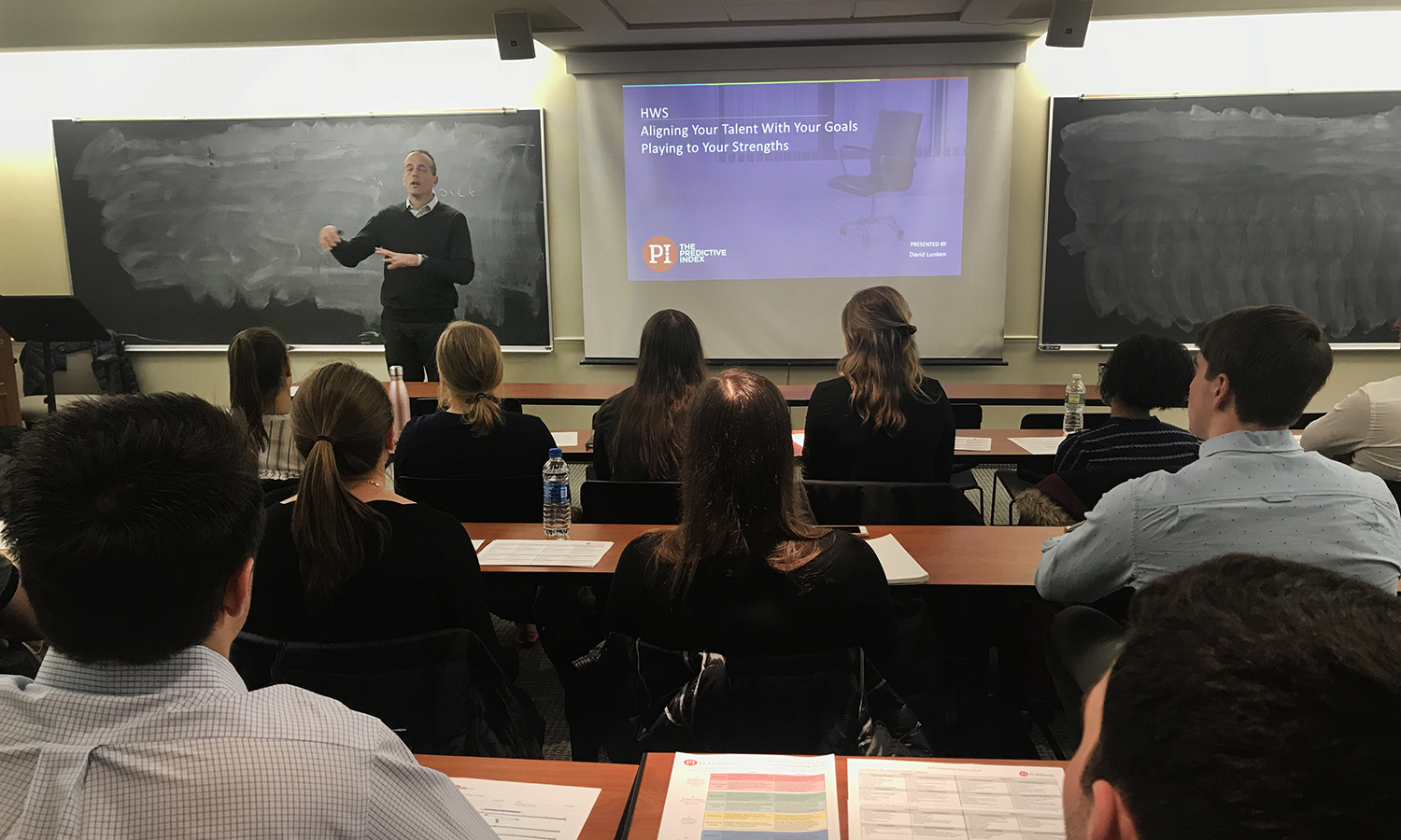 David Lunken '88 introduced finance-focused students to the Predictive Index, a behavioral assessment that he uses with organizations for hiring, managing and motivating employees, to help them prepare for interviews, understand their personal preferences and needs from a workplace environment and what roles they may prefer.