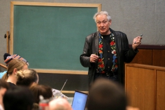 """Professor of Chemistry at the University of California at Berkeley Dr. Richard Saykally delivers a lecture on physcial chemistry titled """"What Makes Water Wet?"""" in the Sanford Room of Warren Hunting Smith Library."""