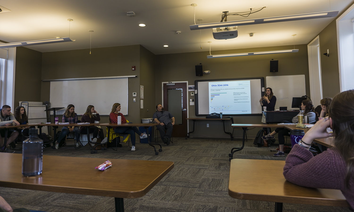 Research Specialist with the Ohio Criminal Sentencing Commission Dr. Lisa Hickman speaks to students about juvenile recidivism as part of âJuvenile Delinquencyâ with Associate Professor of Sociology James Sutton