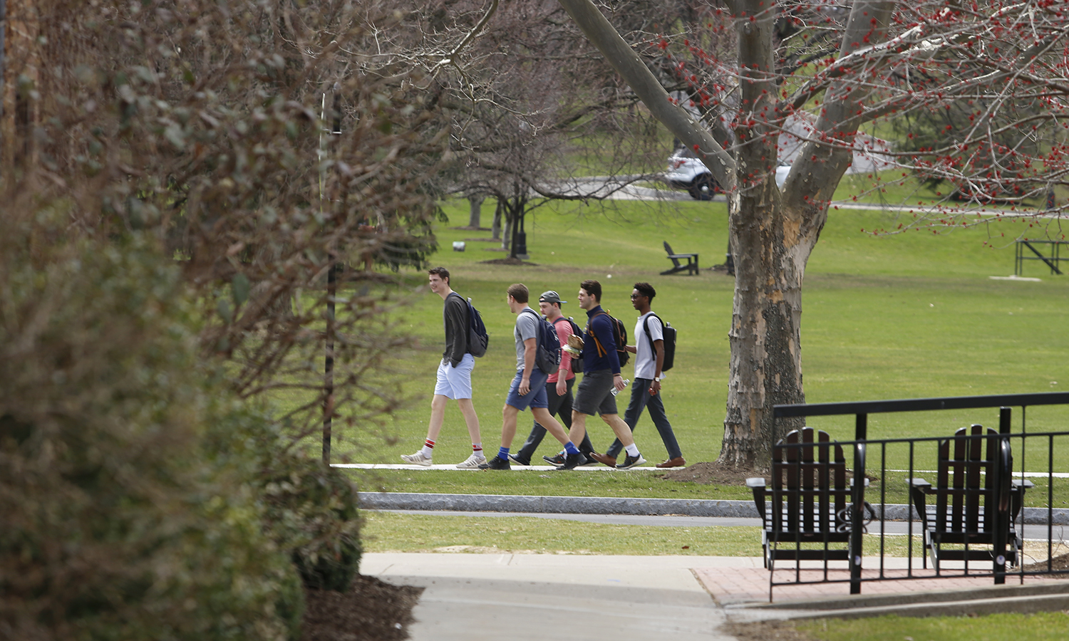 Students walk across campus.