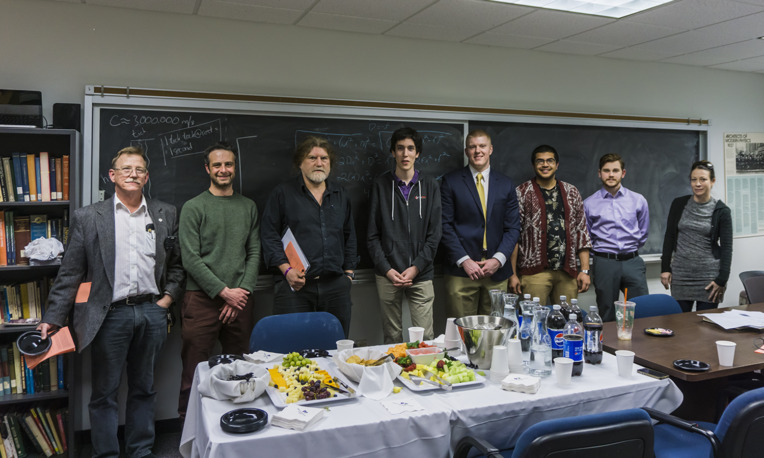 Associate Professor of Physics Ted Allen, Assistant Professor of Psychology Daniel Graham, Associate Professor of Physics Steven Penn, Max Brodheim 'X, AJ McFarlane 'X, Shivam Tewari '18, James Monaco '20 and Associate Professor of English Melanie Conroy-Goldman.