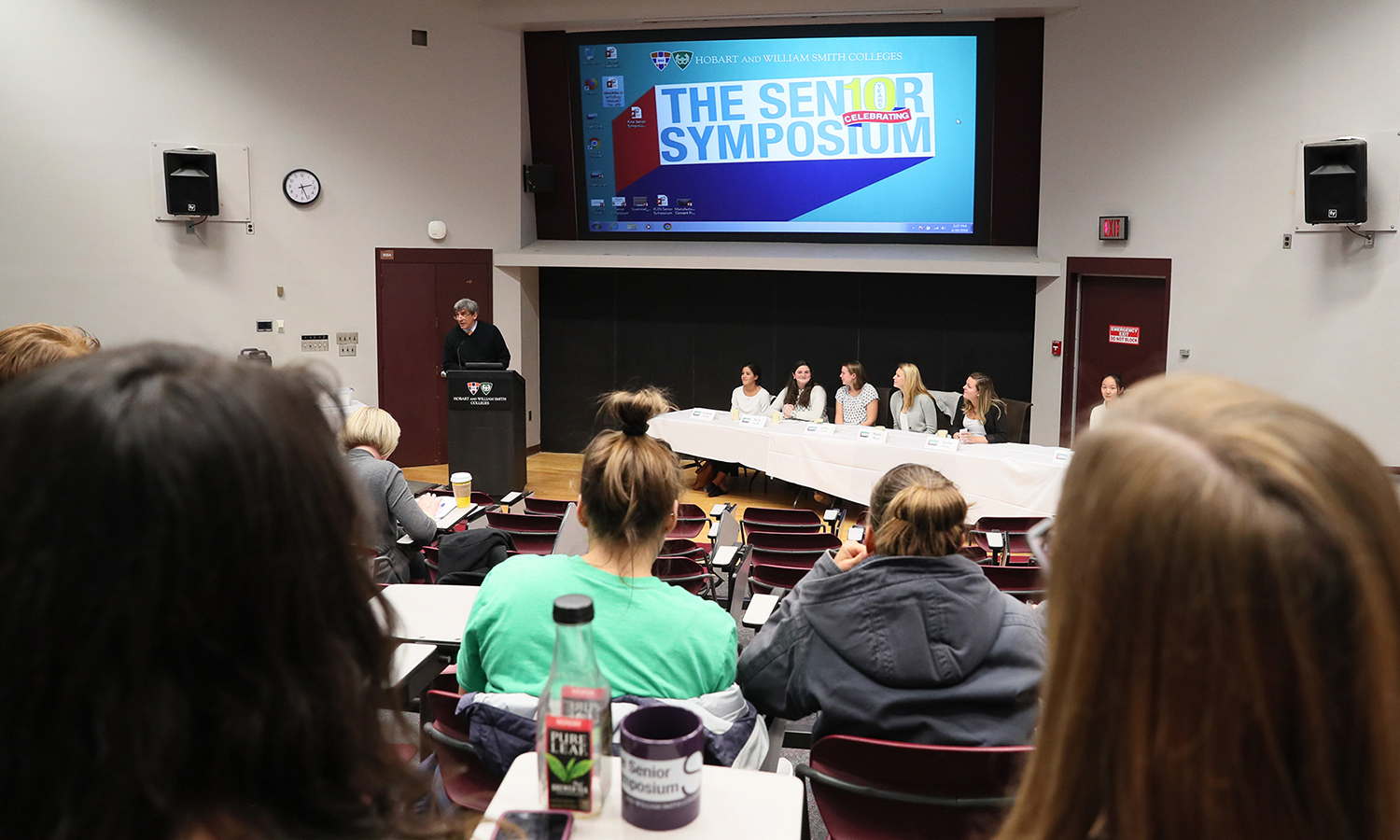 "Associate Professor of Religious Studies Richard Salter '86, P'15 welcomes students, faculty and staff to the ""Finding the (College) Balance"" panel during the 10th annual Senior Symposium."