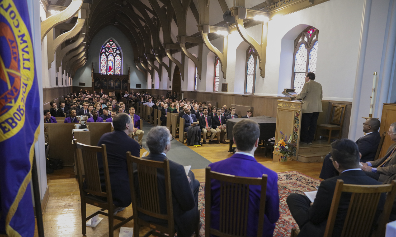 Students, faculty and staff gather in St. John's Chapel for the annual Hobart College Charter Day celebration.