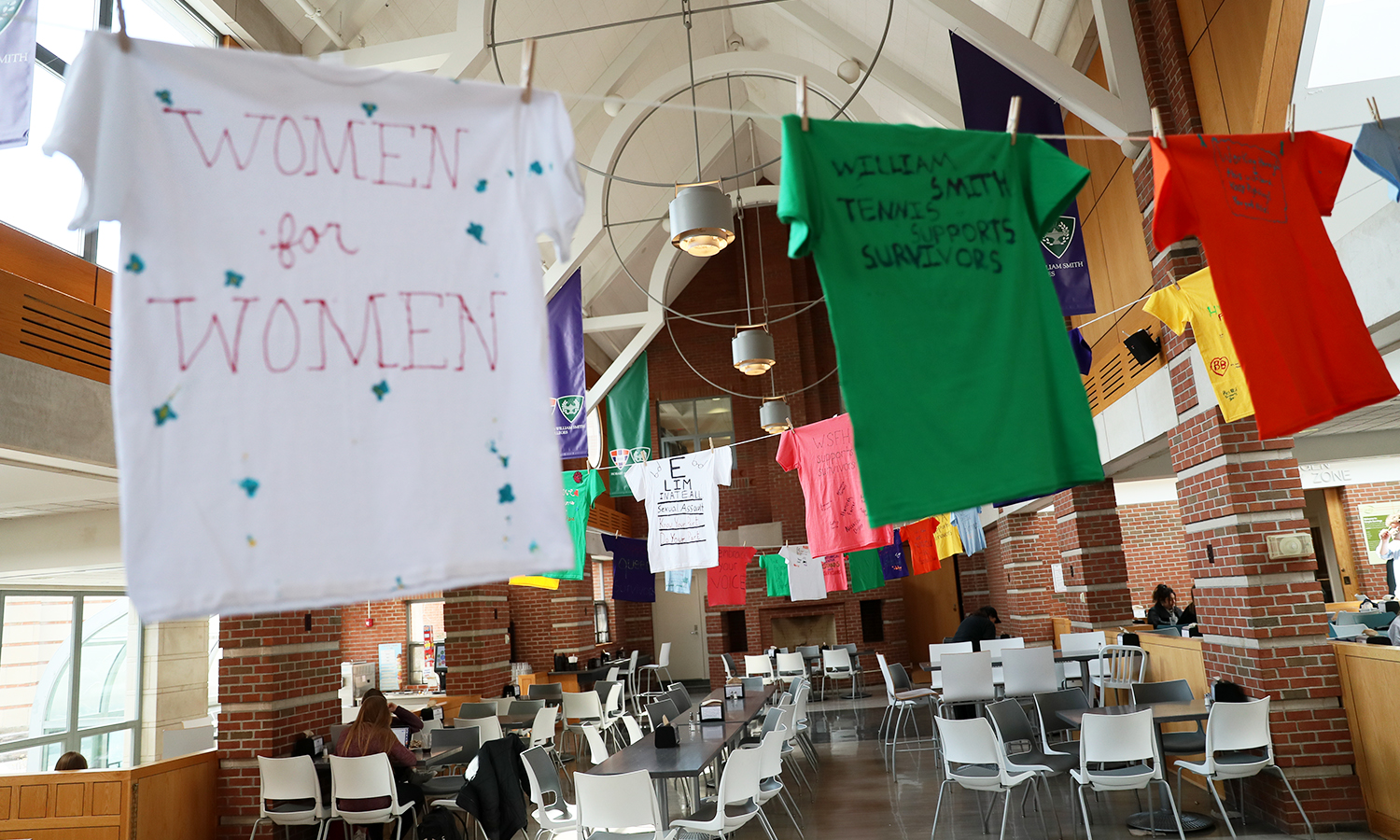 As part of the Clothesline Project, students hang T-shirts with personal messages about sexual violence or a general message of support for survivors during Sexual Assault Awareness Month.