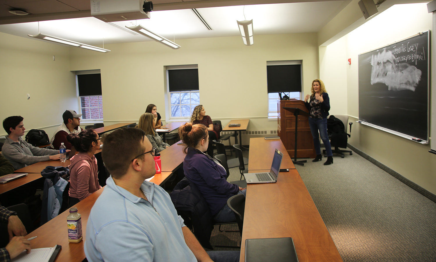In Trinity Hall, Partner at Ahmuty, Demers & McManus Jennifer A. Casey '90 speaks with students about careers in law as part of the Professional In Residence series