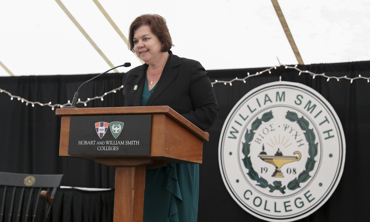 William Smith Dean Lisa Kaenzig addresses the audience during the traditional Moving Up Day ceremony held on Stern Lawn.