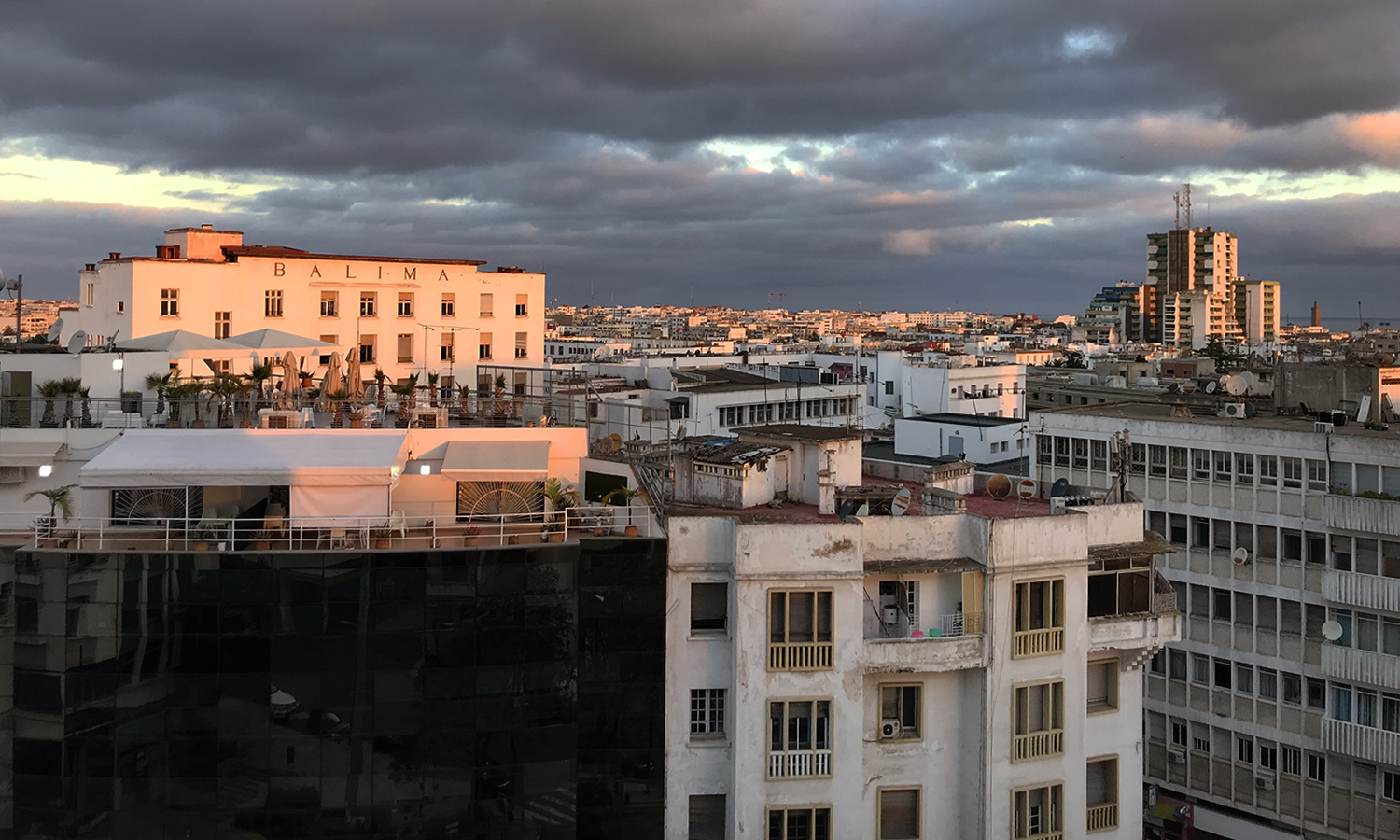 Carly Kelly's '20 caputures a sunset view of Rabat, Morocco from her apartment.
