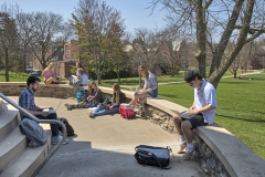 Assistant Professor of English Alex Black discusses X during his class âXâ outside of Trinity Hall.