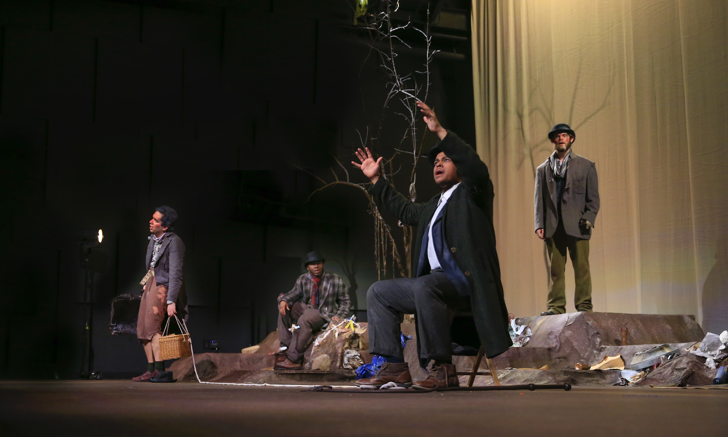 Students rehearse for HWS Theatre's upcoming production of Waiting for Godot, a tragicomedy by Samuel Beckett. Directed by Associate Professor of Theatre Heather May, the show can be soon on Thursday, April 12 and Friday, April 13 at 7:30 p.m. and Saturday, April 14 at 2 p.m. and 7:30 p.m. in the McDonald Theatre of the Gearan Center for the Performing Arts.