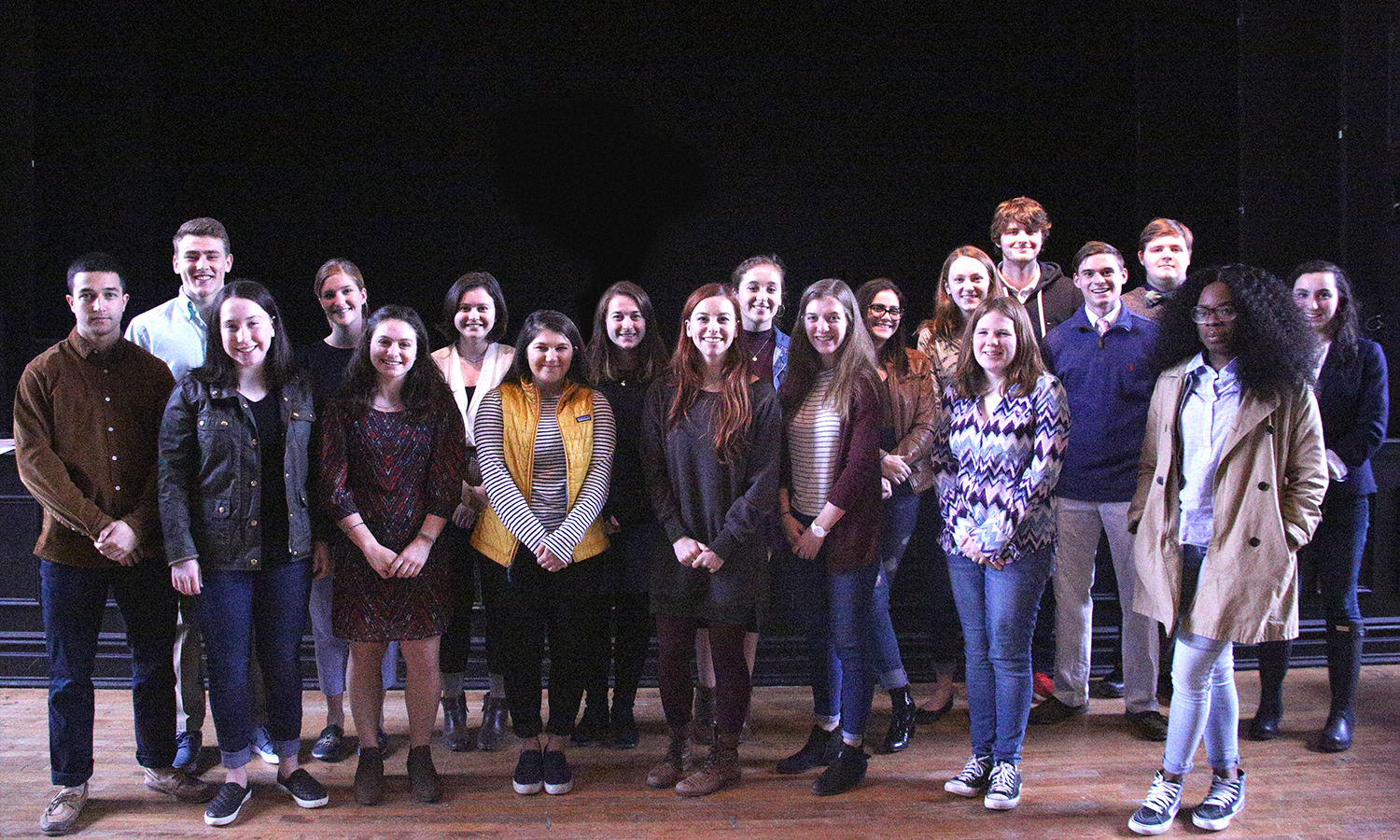 Nominees and winners of the First-Year Writing Prize gather for a group photo in Bartlett Theatre following the reception.