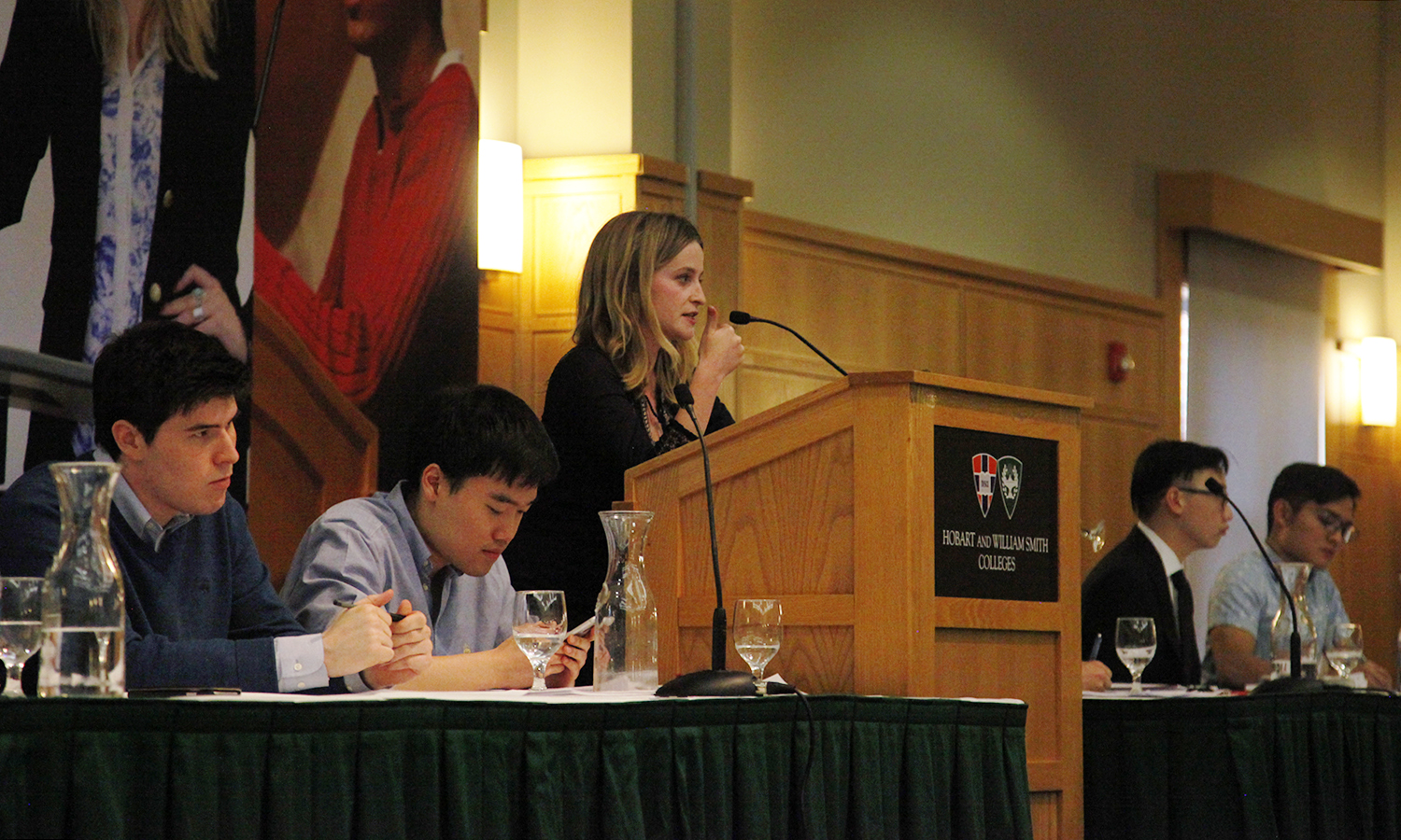 Representing Stanford University, Bobbi Leet offers a rebuttal during the HWS Round Robin in the Vandervort Room.