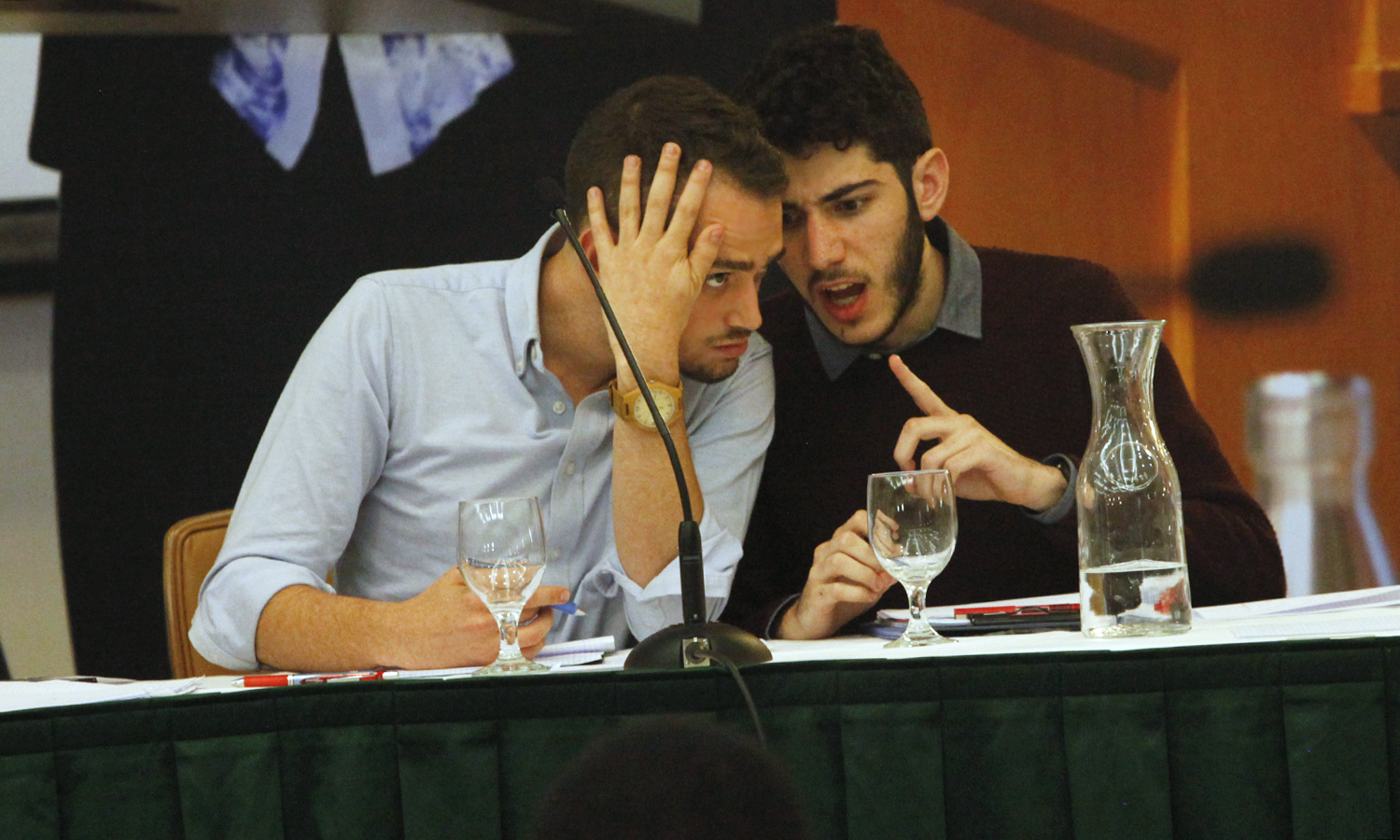 Representing Tel Aviv Universtiy, Noam Dahan (left) and Tom Manor discuss strategy during the final round of the HWS Round Robin in the Vandervort Room.