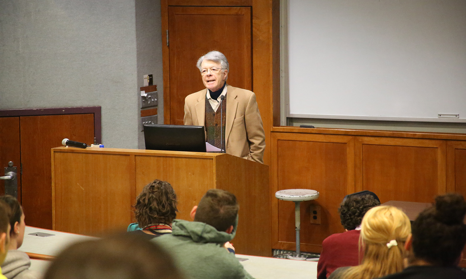 "Henry Shue, professor at Oxford University, speaks about climate change as part of his talk ""Climate Surprises: Pivotal Generations and Risk Transfer"" in the Sanford Room of Warren Hunting Smith Library."