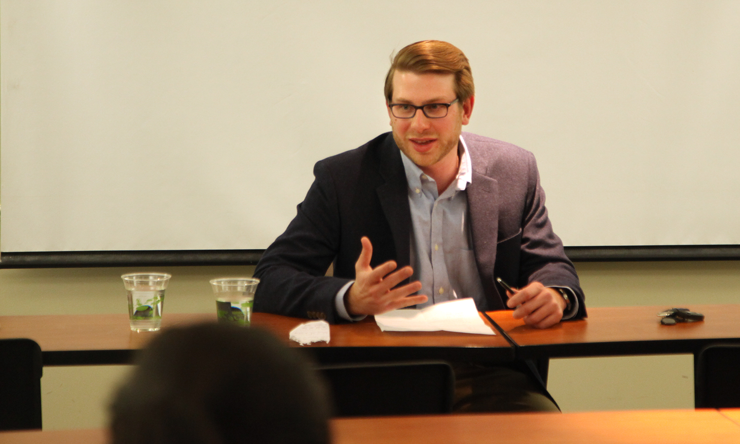 "In Trinity Hall, Senior Counselor for Public Affairs at Eric Mower and Associates Adam Croglia '10 talks with students about his career in public affairs as part of the ""Professionals In Residence"" series sponsored by the Salisbury Center for Career, Professional and Experiential Education."