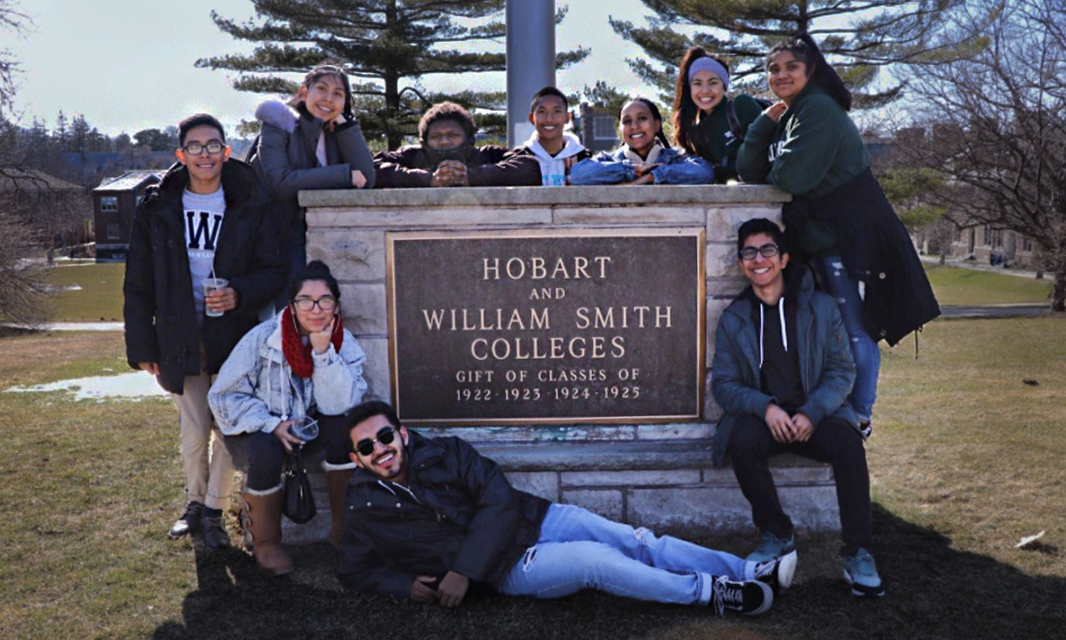 Members of HWS Posse 5 gather for a group photo on campus. In 2012, HWS entered into a partnership with the Posse Foundation, one of the most successful college access and youth leadership development programs in the country.