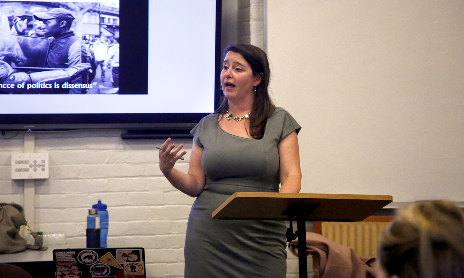 "Anna Kornbluh, associate professor of english at the university of Illinois at Chicago, speaks about the ""The Social Arts of Building"" during a lecture in the Fisher Center on Wednesday."