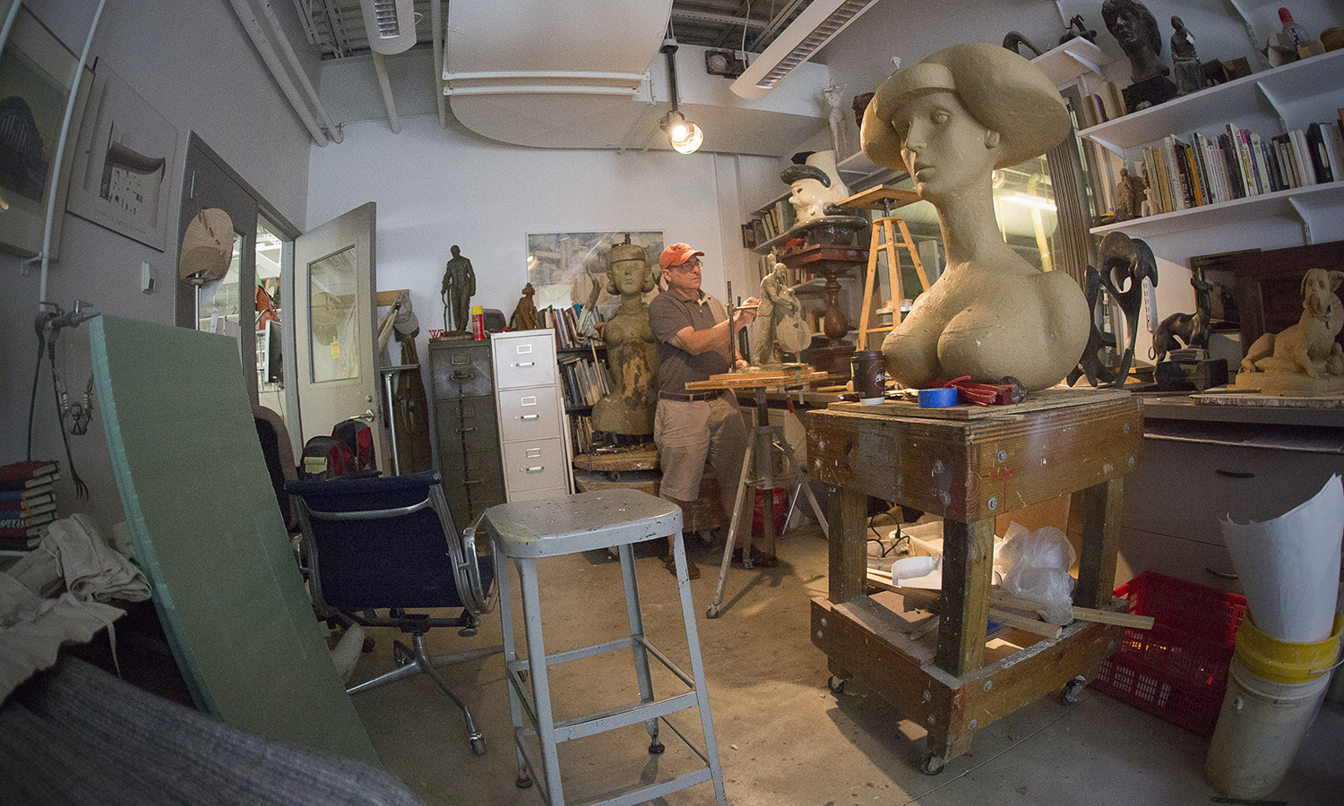 Professor of Art Ted Aub works on a model of famed local bassist Scott LaFaro, which will serve as reference for a full-scale sculpture, to be cast in bronze.  Geneva City council recently named April 3 'Scott LaFaro Day' in honor of his legacy.