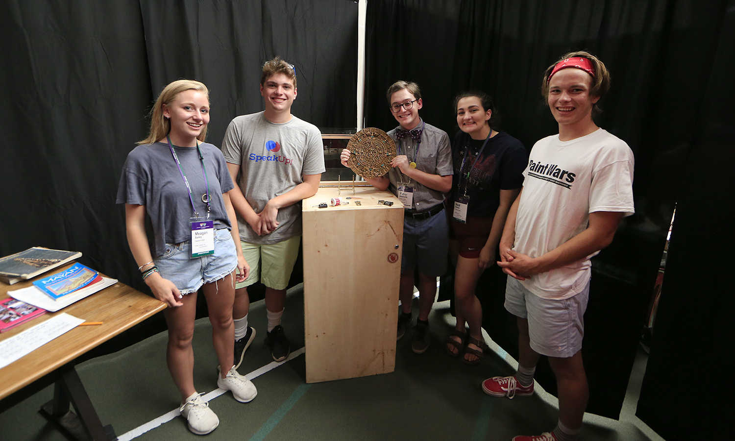 Meagan Bailey '22, Jack Amsterdam '22, Tanner Bissonette '22, Heidi Aversa '22 and Kain Dart-Snouffer '22 celebrate successfully breaking out of an escape room during Orientation Weekend's teambuilding session at Bristol Feild House.