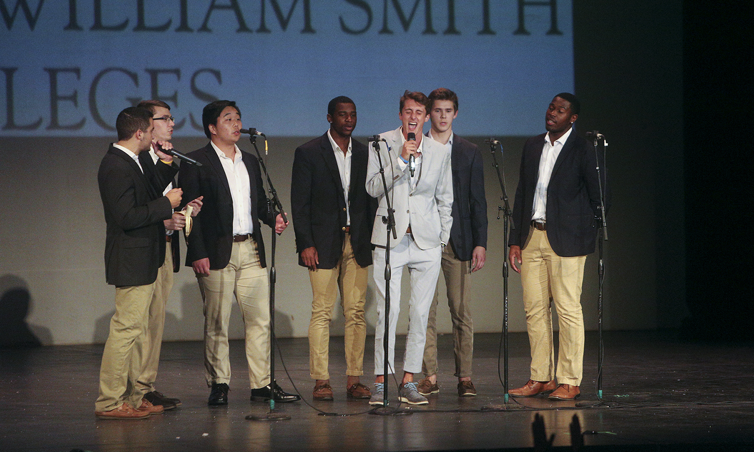 Hobartones, the Hobart college acapella group, perform at the Variety Show at the Smith Opera House in downtown Geneva.