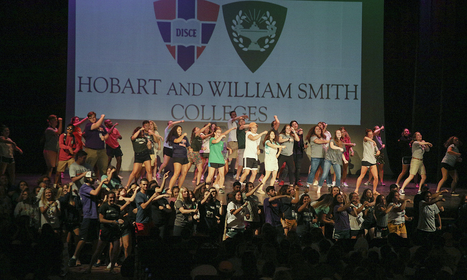 The 2018 Orientation Mentors perform a choreographed dance to end the Variety Show at the Smith Opera House.