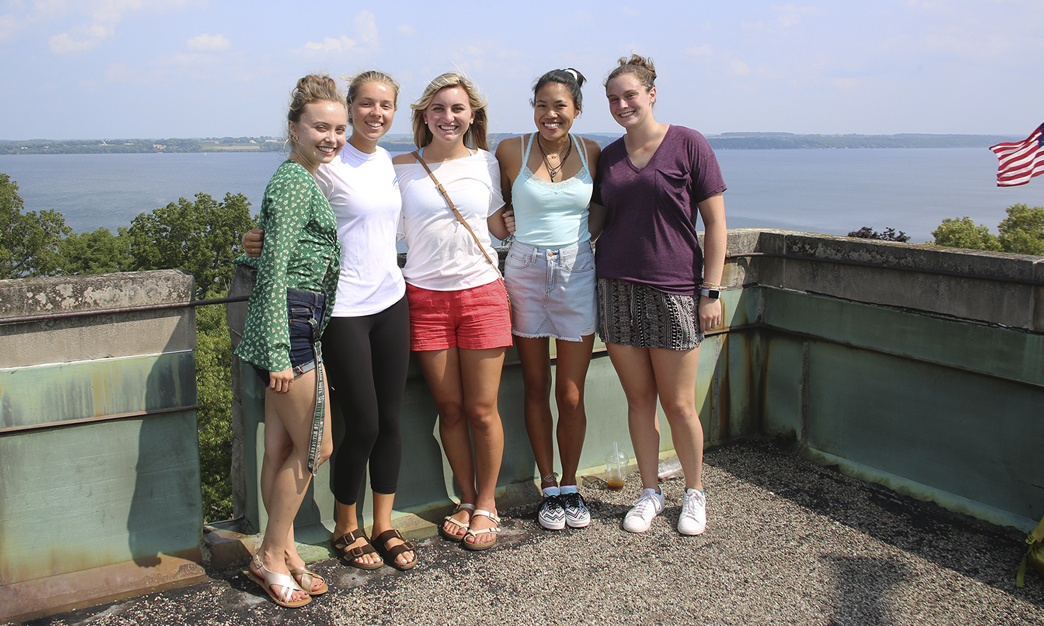 William Smith students pose for a photo on the top of St. Mark's Tower.