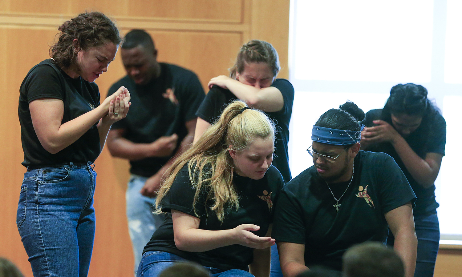Members of Mosaic NY, the social justice theatre company, perform a series of plays for first-years advising students on how to deal with the social and academic pressures of college.