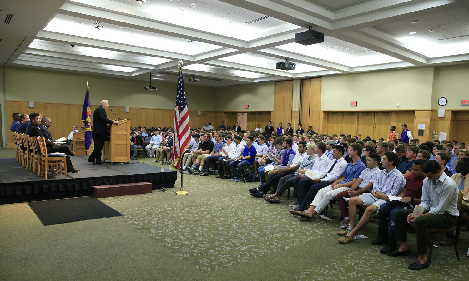 "Assistant Dean of Hobart College Joseph Mink greets the Hobart Class of 2022 during Matriculation. The tradition of Hobart Matriculation began when Hobart was founded in 1822 and has remained a way to honor the ""shared commitment to each other"" that resonates between the students, the College, and the more than 13,000 Hobart College alumni."