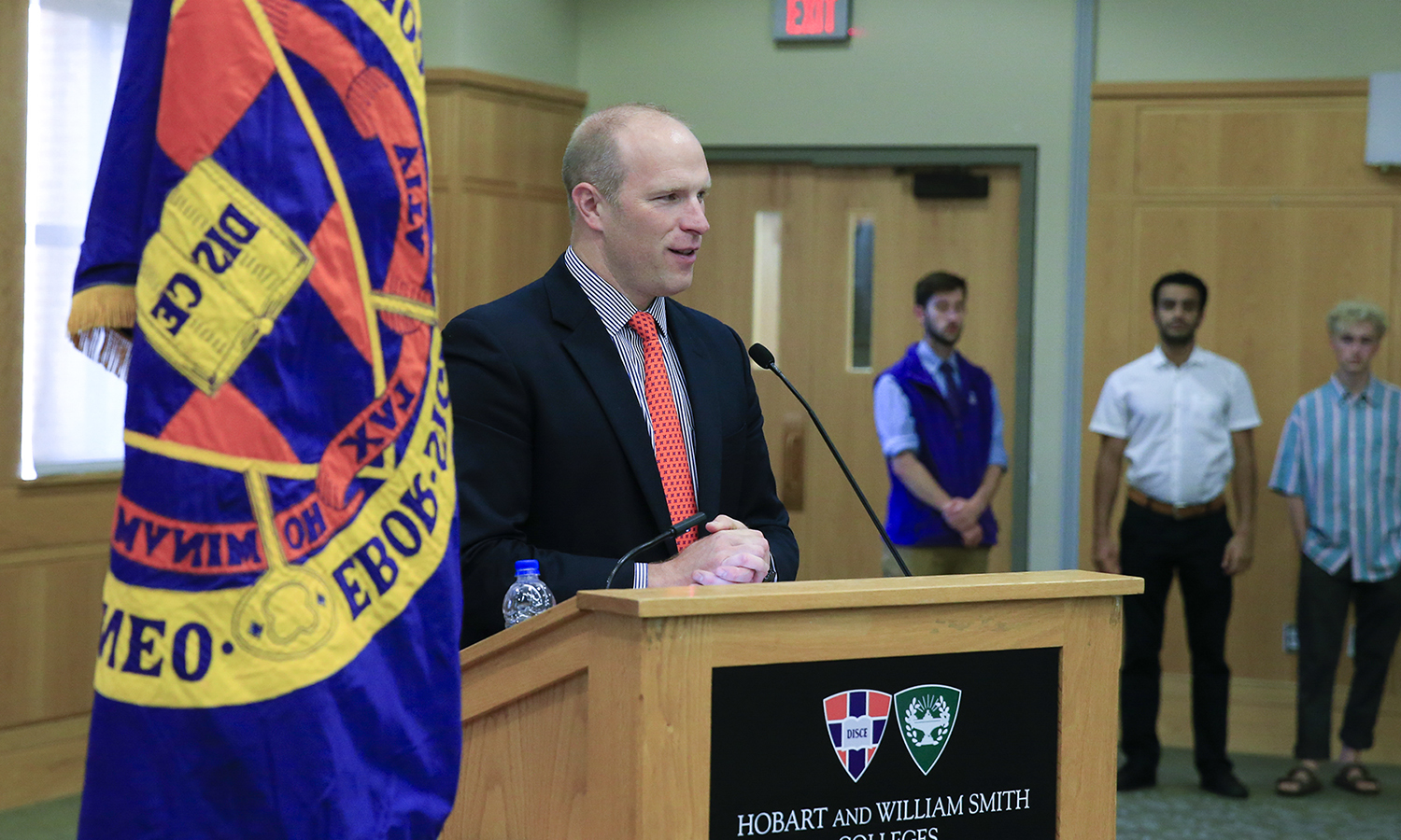 Director of Admissions William Warder '96 speaks to first-year students at the Hobart Matriculation Ceremony.