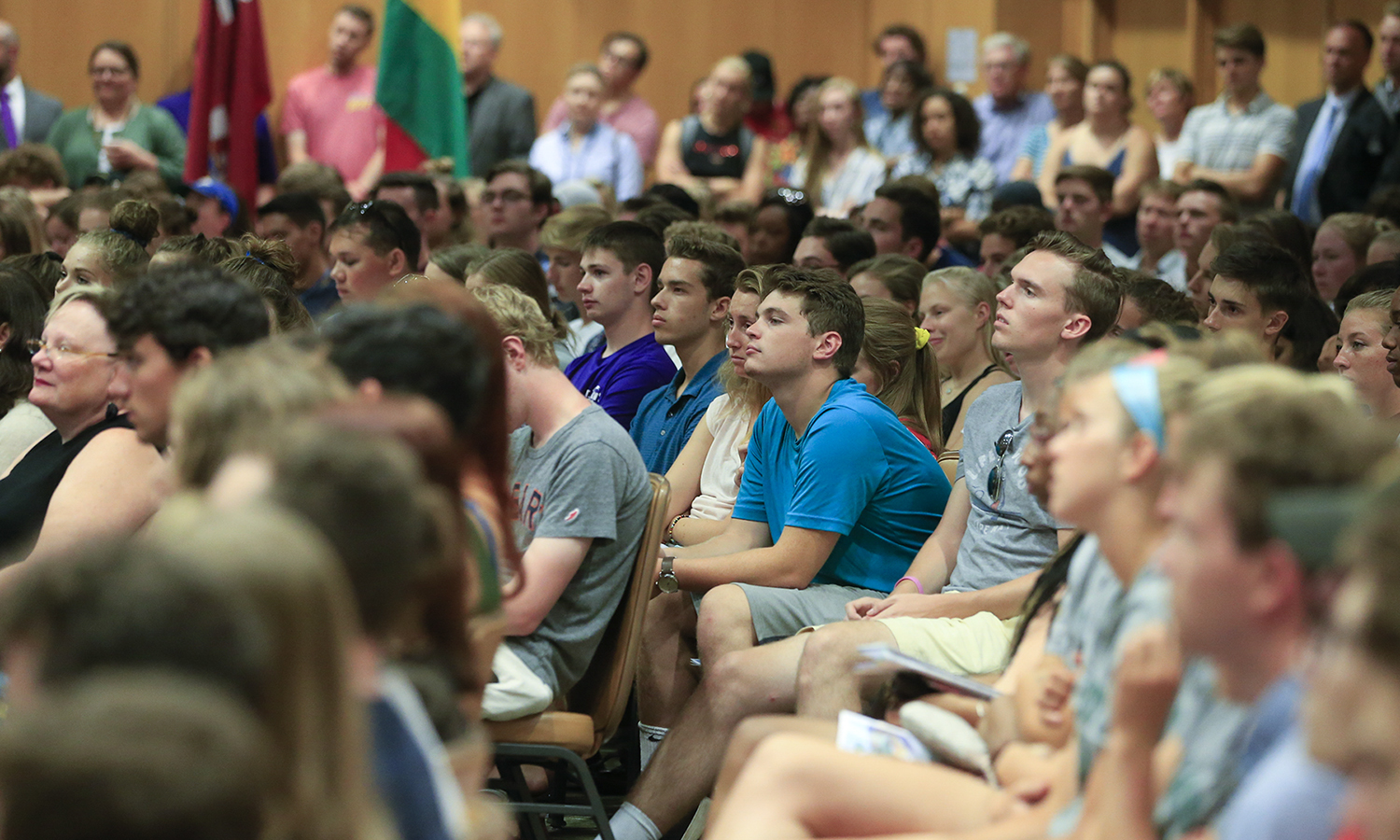 Students listen during the Convocation 2018 keynote address delivered by Margarita Ramos '85.