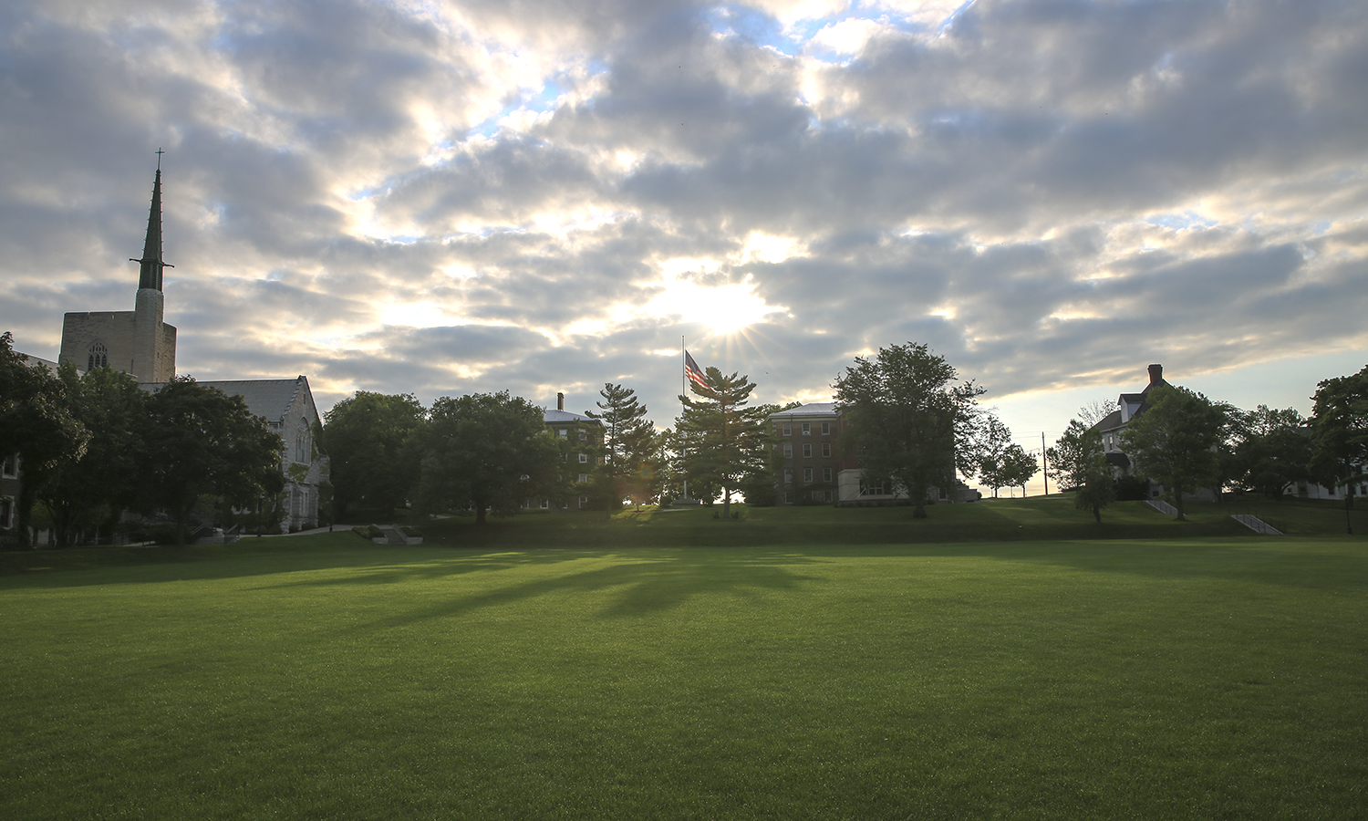 The sun rises over the Quad on Wednesday morning.