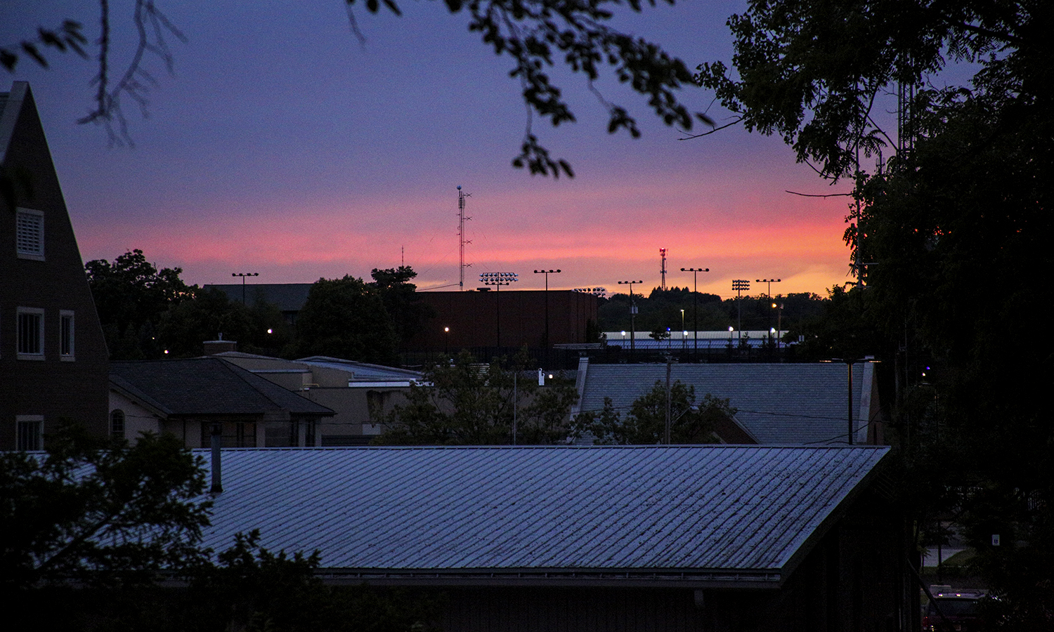 The sun sets over the Hobart and William Smith Campus.