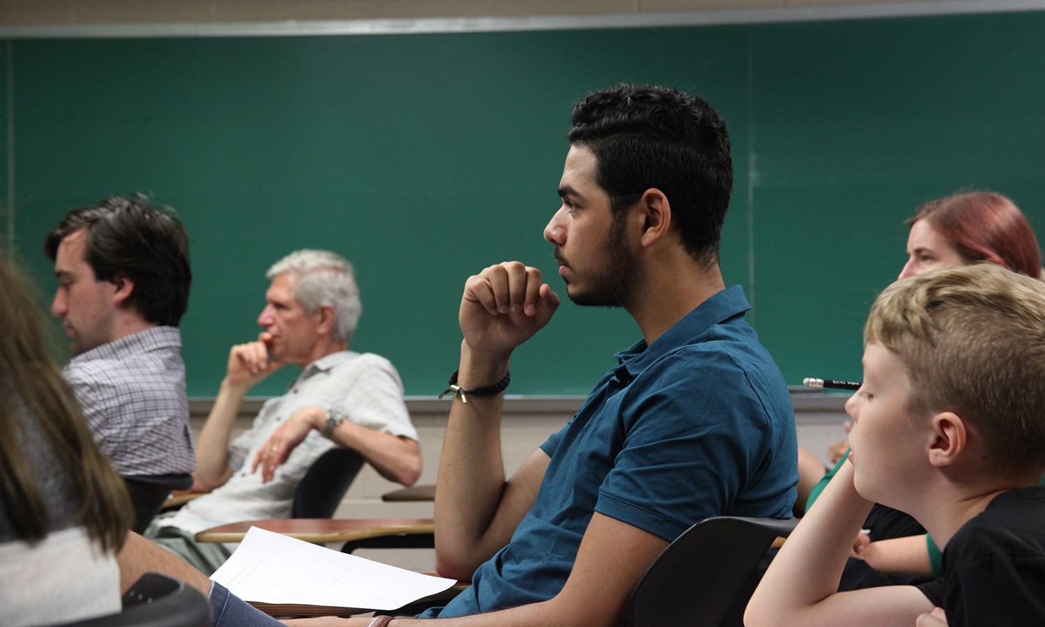 Hamdan Ahmed '20 sits in on a lecture as part of the Research Experience for Undergraduates Program hosted by the HWS Department of Mathematics.