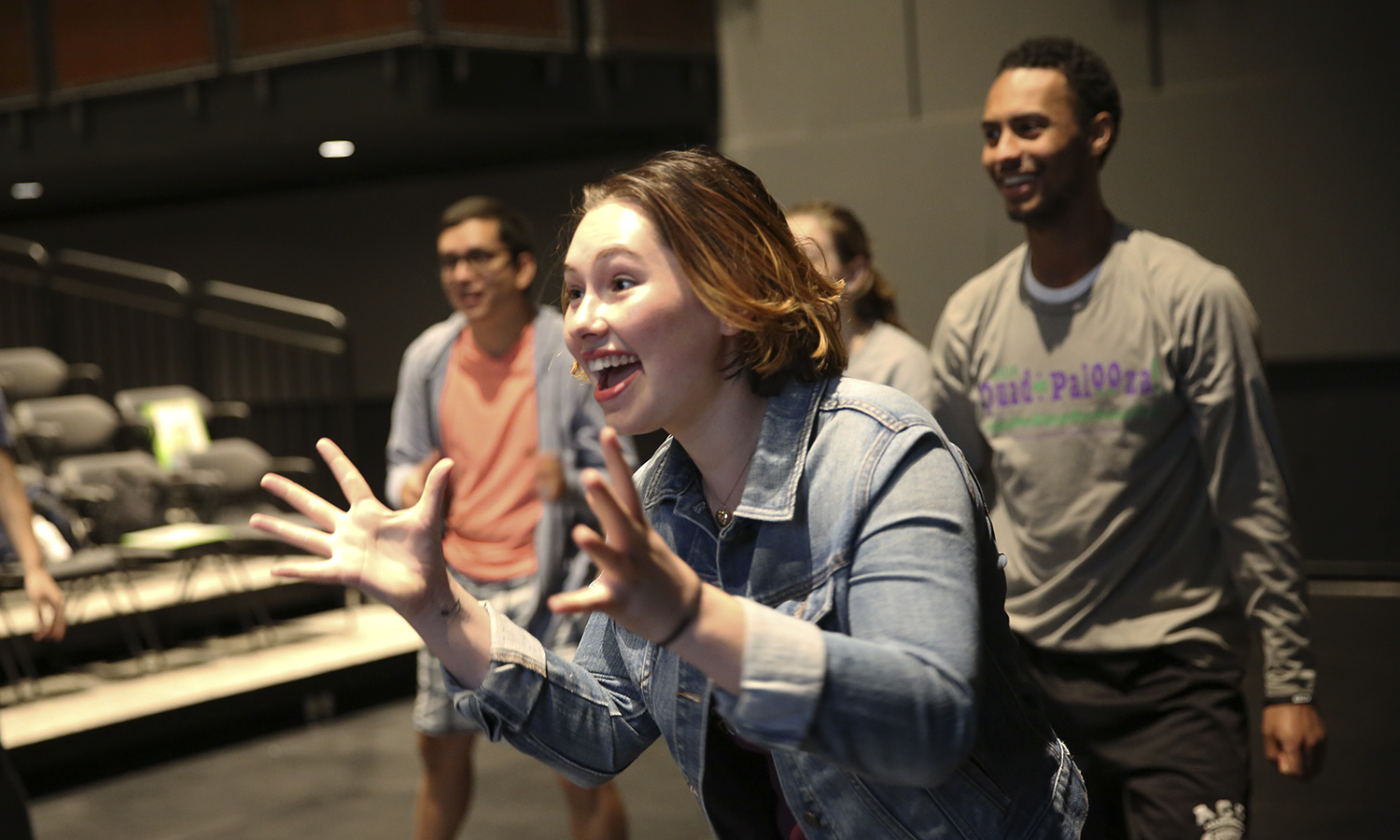 X participates in a group exercisse during MOSAIC NY rehersal in McDonald Theater.