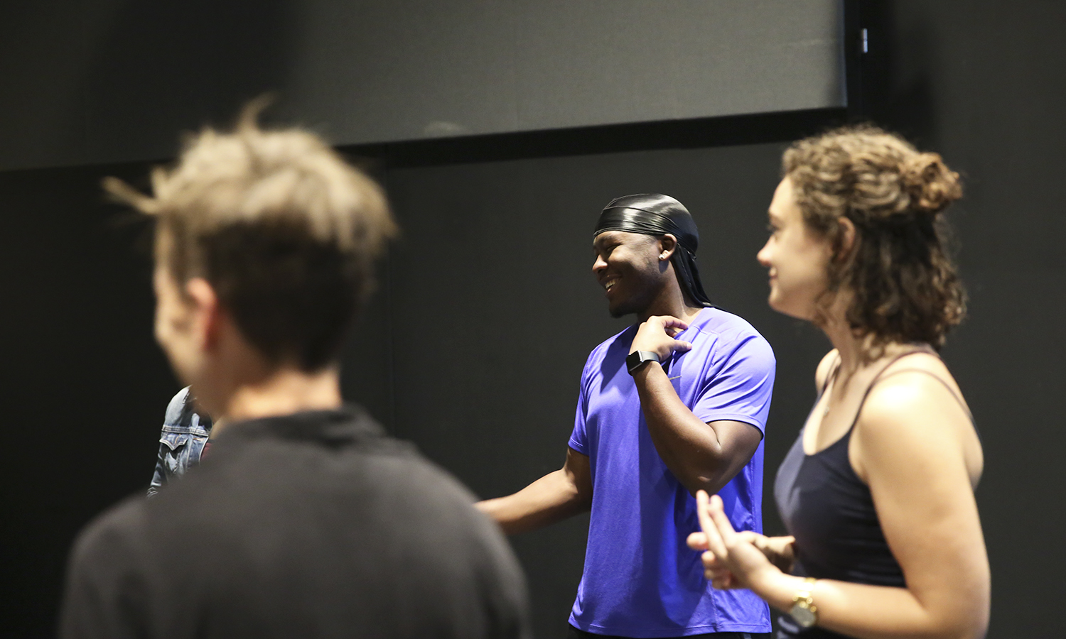 """Chris Williams """"X shares a laugh with the group during MOSAIC NY rehearsal."""