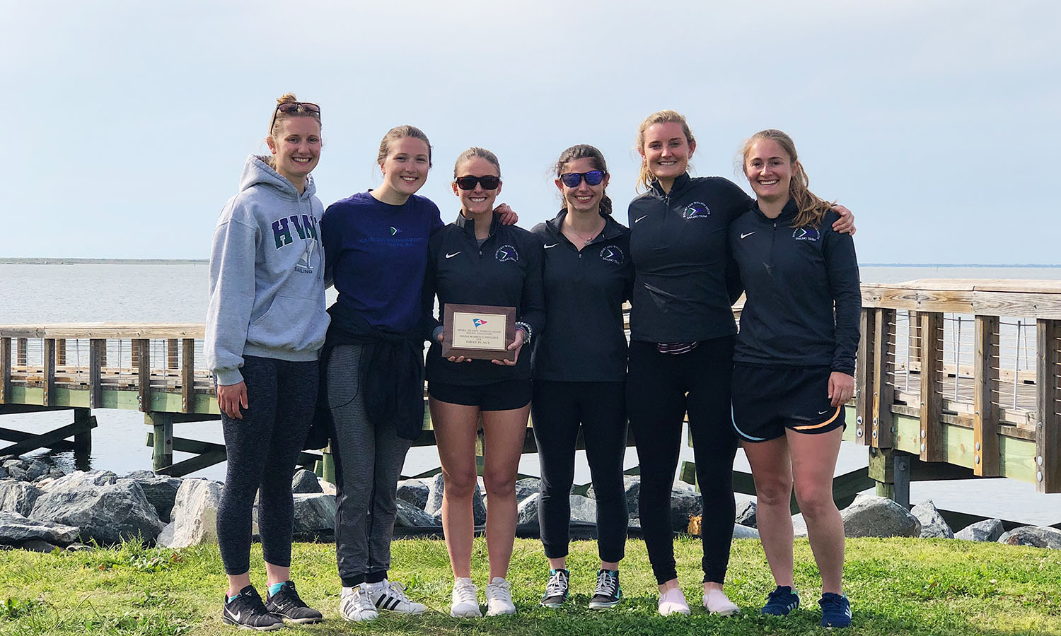 Members of the William Smith sailing team gather for a photo after winning the Middle Atlantic Intercollegiate Sailing Association Women's Championship in Norfolk, Va. It was the Herons' fourth MAISA Women's Championship. The Herons went on to a program best third place finish at the national championships.