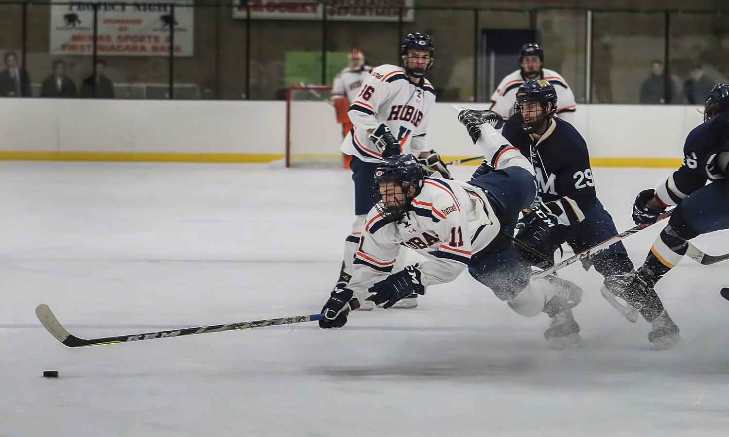 Cam Shaheen '19 makes an acrobatic play in the neutral zone during Hobart's win against the University of Southern Maine.