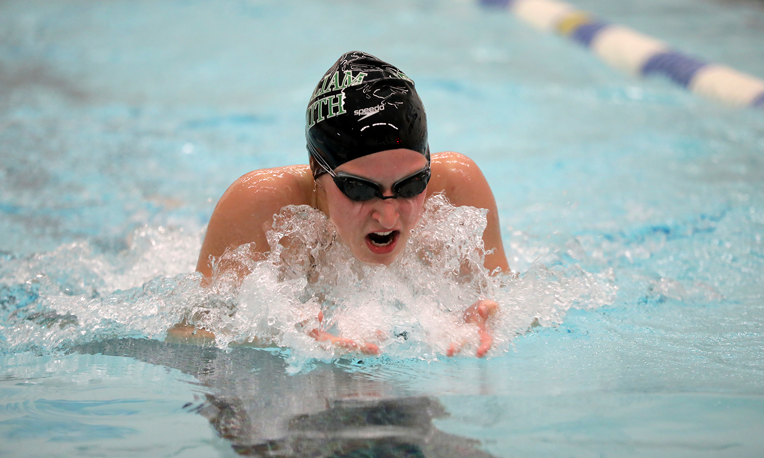 Emma Wilber '21 swims the breaststroke during William Smith's 150-60 win over Wells College on Saturday.