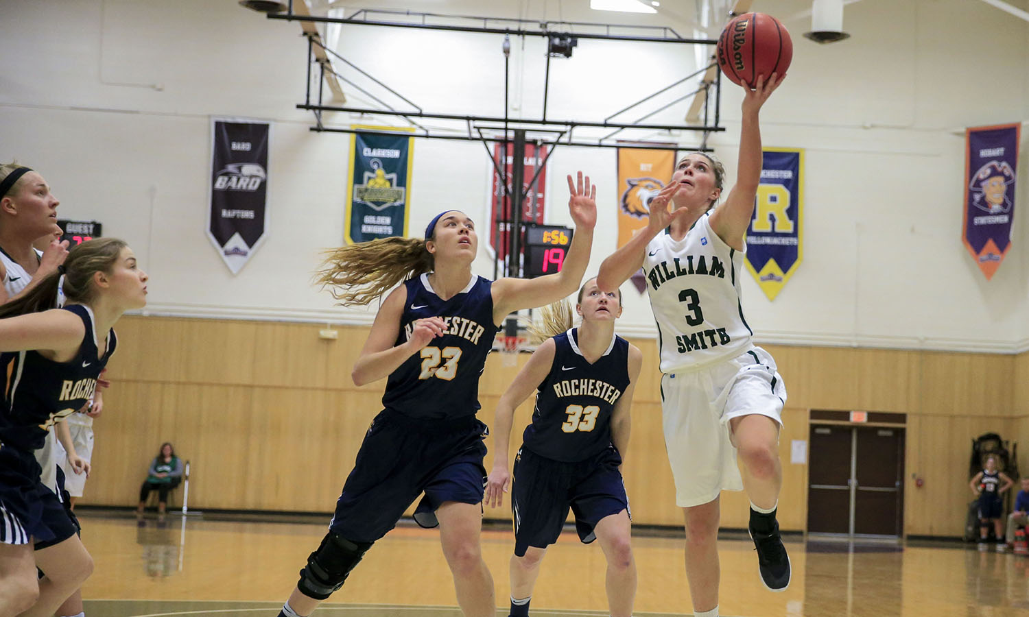 Adrianne Torea '19 finishes with a layup during William Smith's game against the University of Rochester.