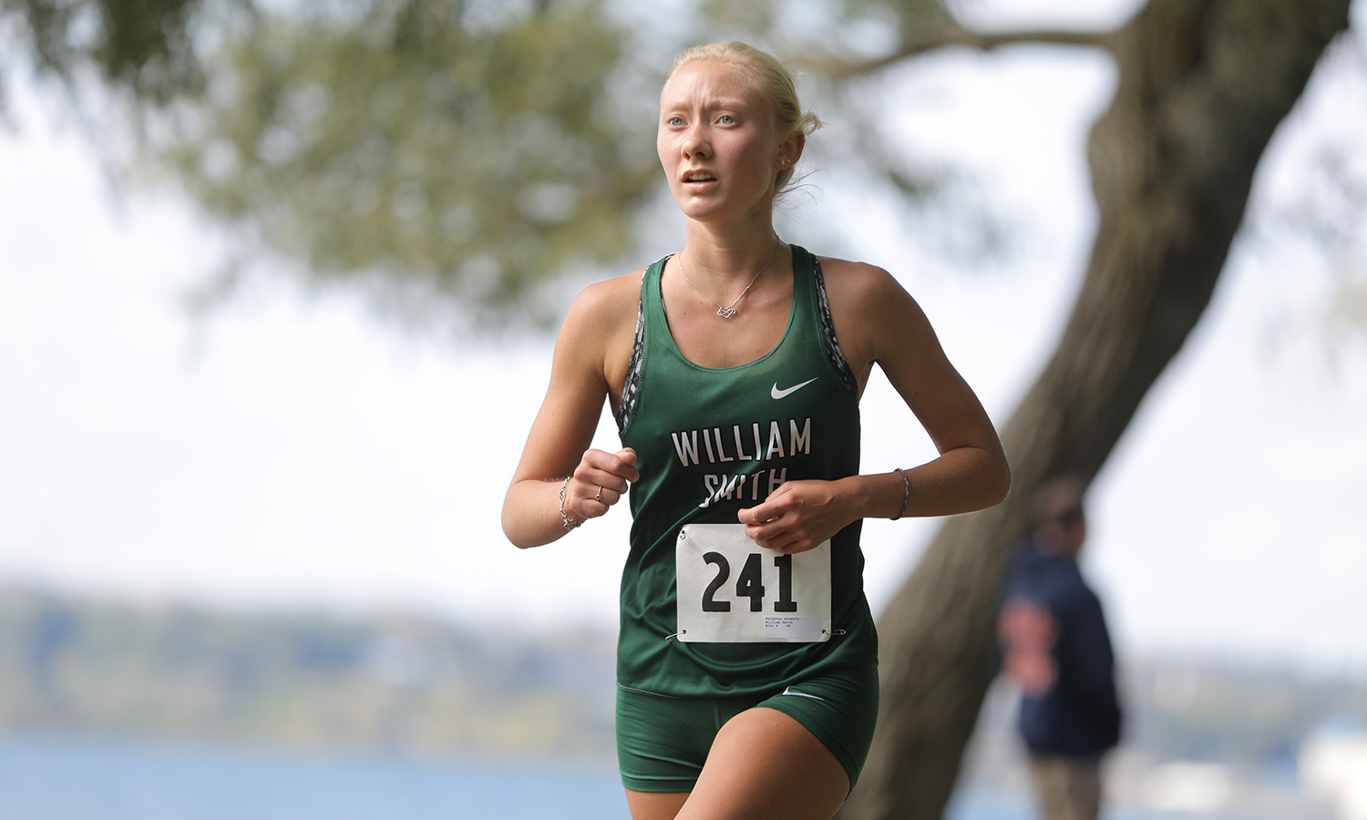 Paighton Alberts '21 keeps pace during the Cross Country Only Conference championships at Seneca Lake State Park. Alberts was named the Liberty League Women's Cross Country Rookie of the Week, placing eighth out of 112 runners.