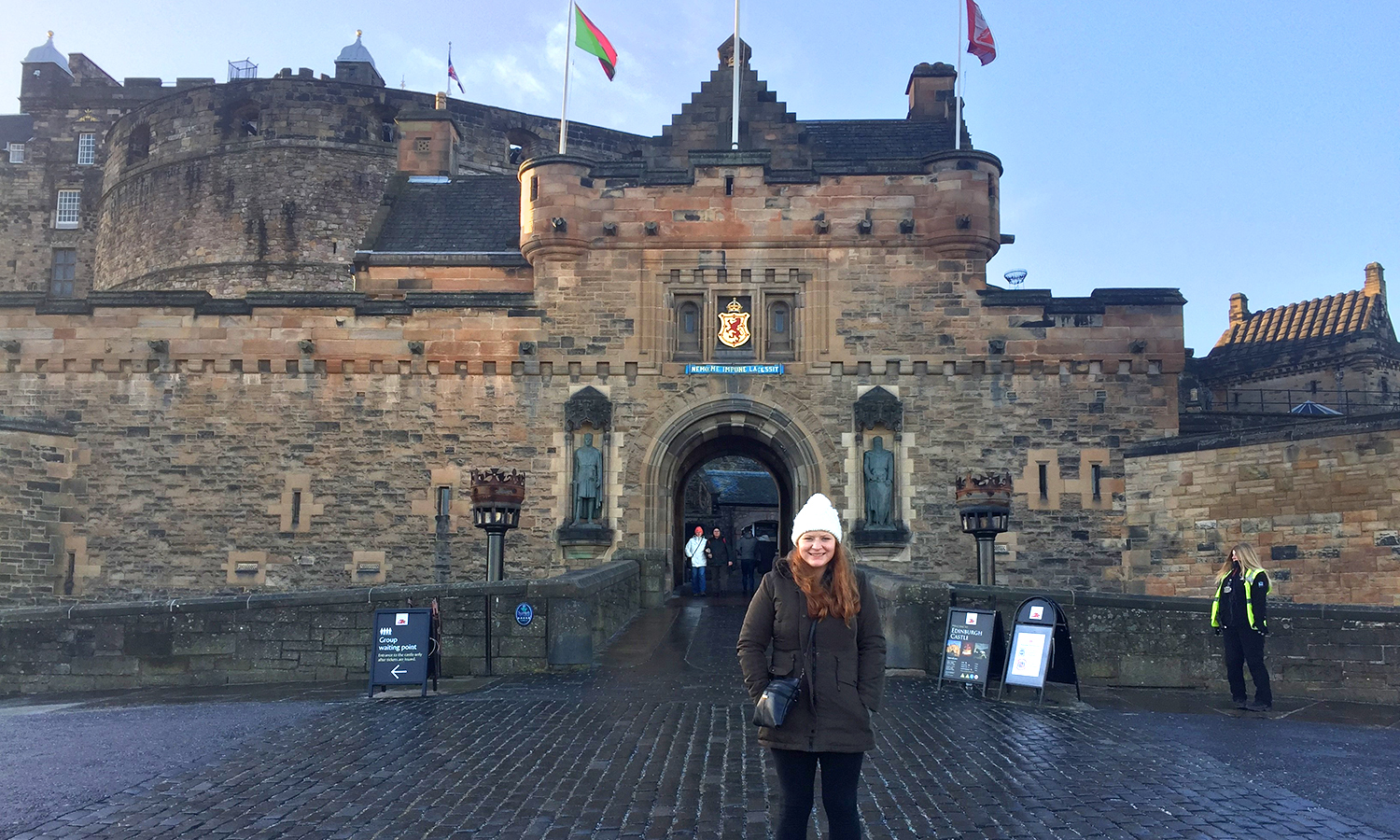 Allison Doherty '19 visits the Edinburgh Castle while studying abroad in Scotland through the HWS Center for Global Education and Edinburgh Napier University.