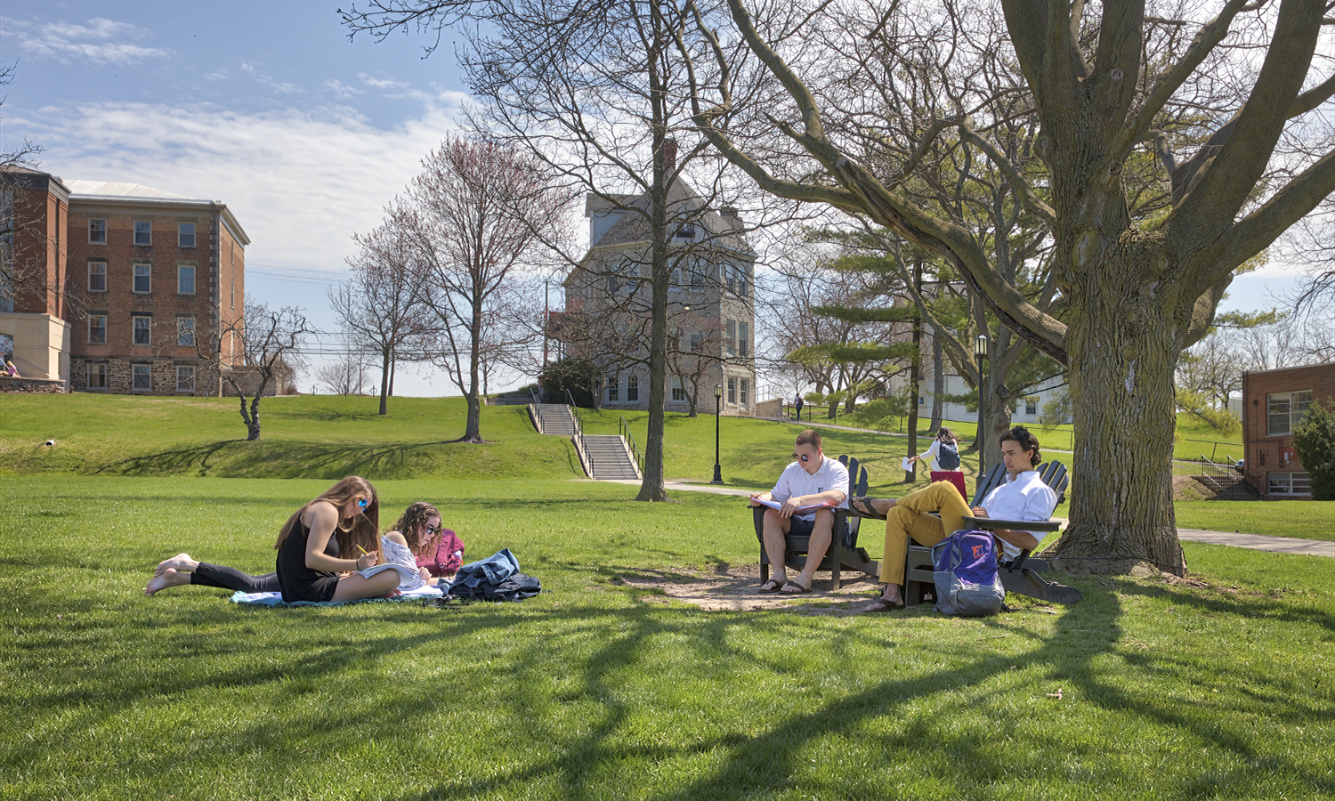Students work on the Quad on Tuesday.
