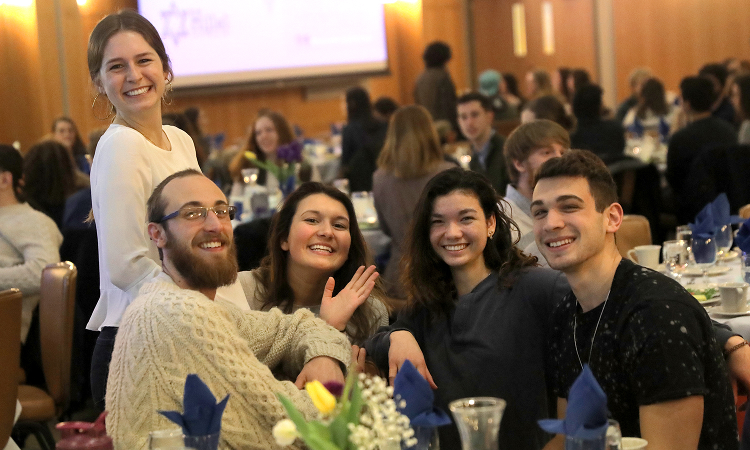 Grace Martel '18, Micah Lynch '18, Riley D'Alba '21, Eleanor Freed '21 and Zach Hoffman '18 gather for a photo during HWS Shabbat.