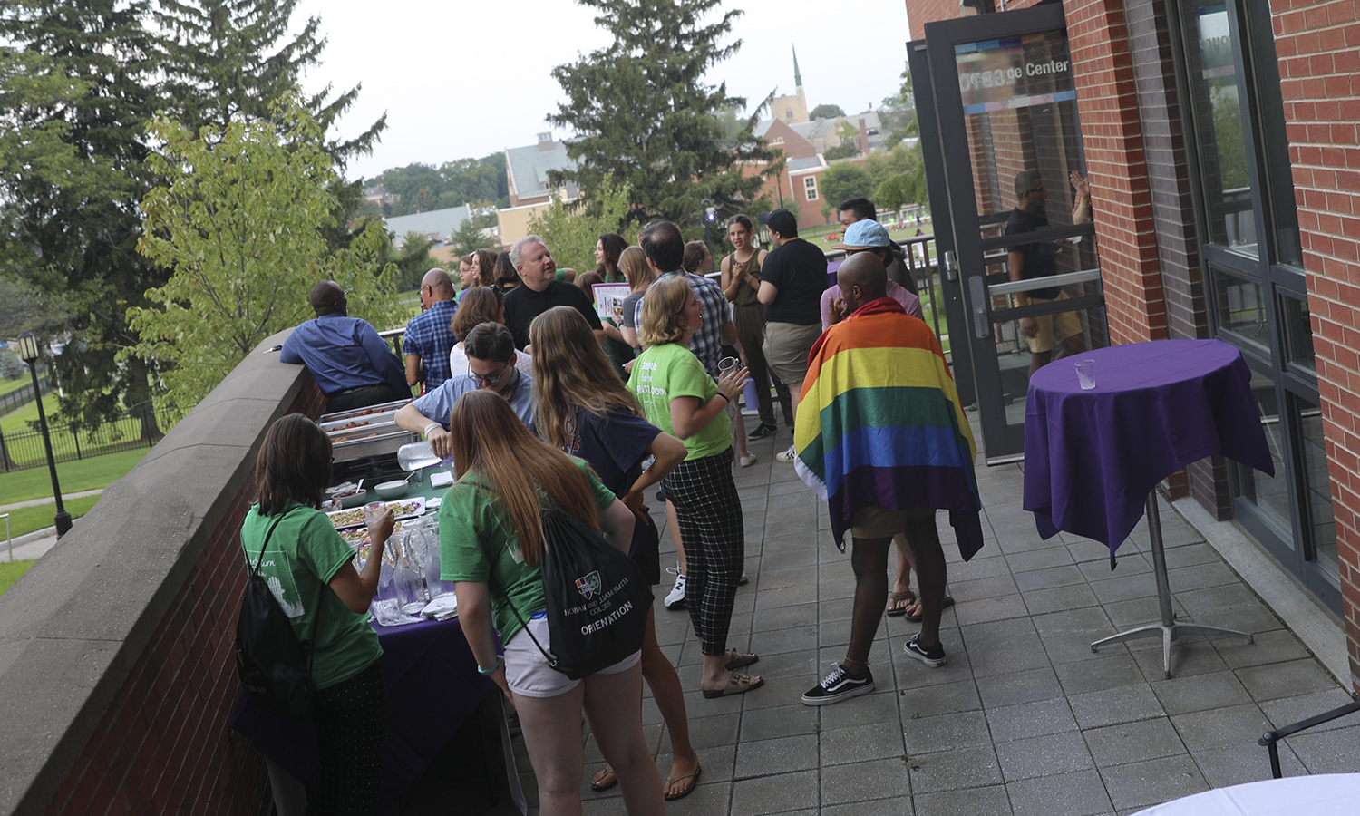 Staff, students and faculty gather for the LGBTQ+ Resource Center Reception at DeCordova Hall during Orientation Weekend.