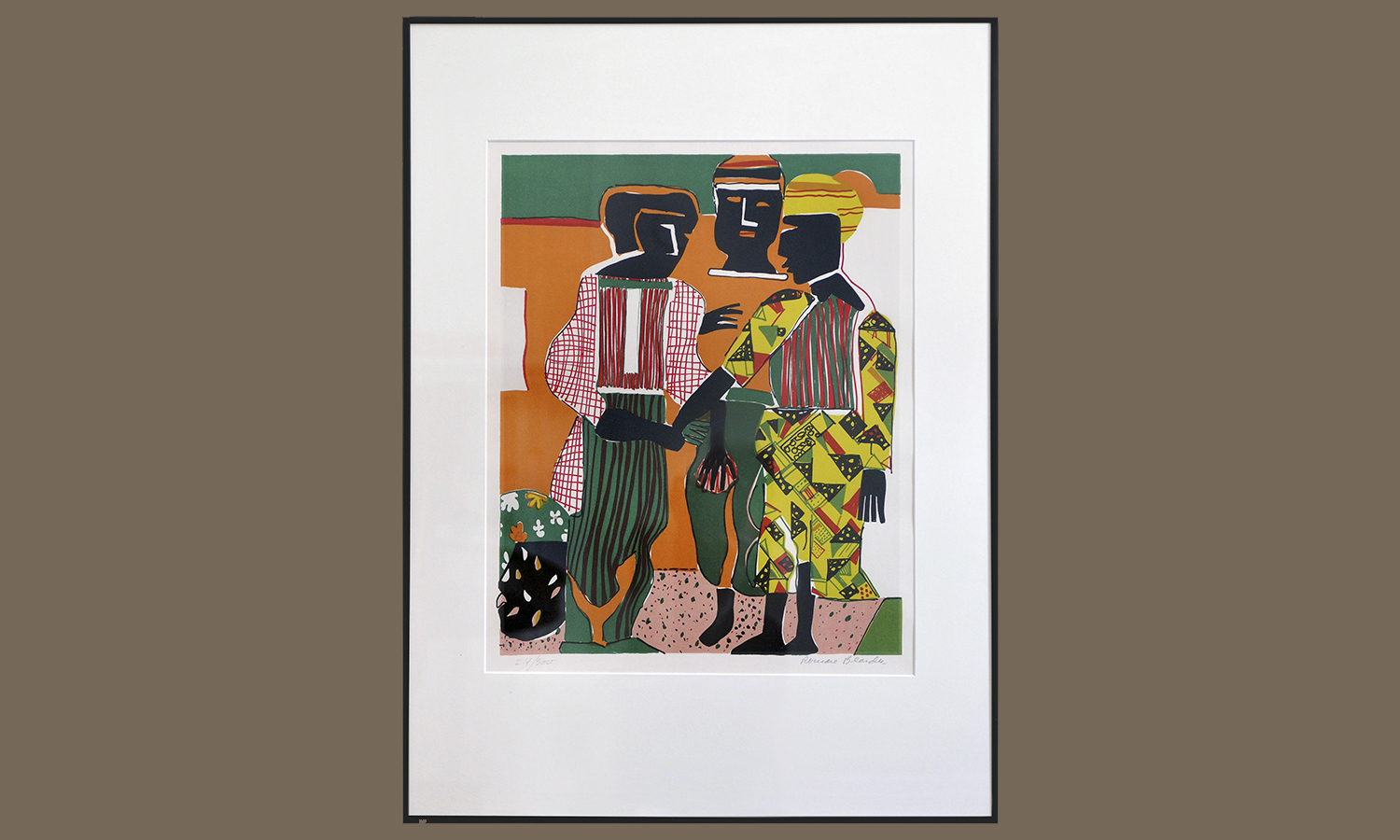 """Conjunction,"" Lithograph on Arches paper, by Romare Bearden in 1979, Gift of Kenneth L. Halsband '88"