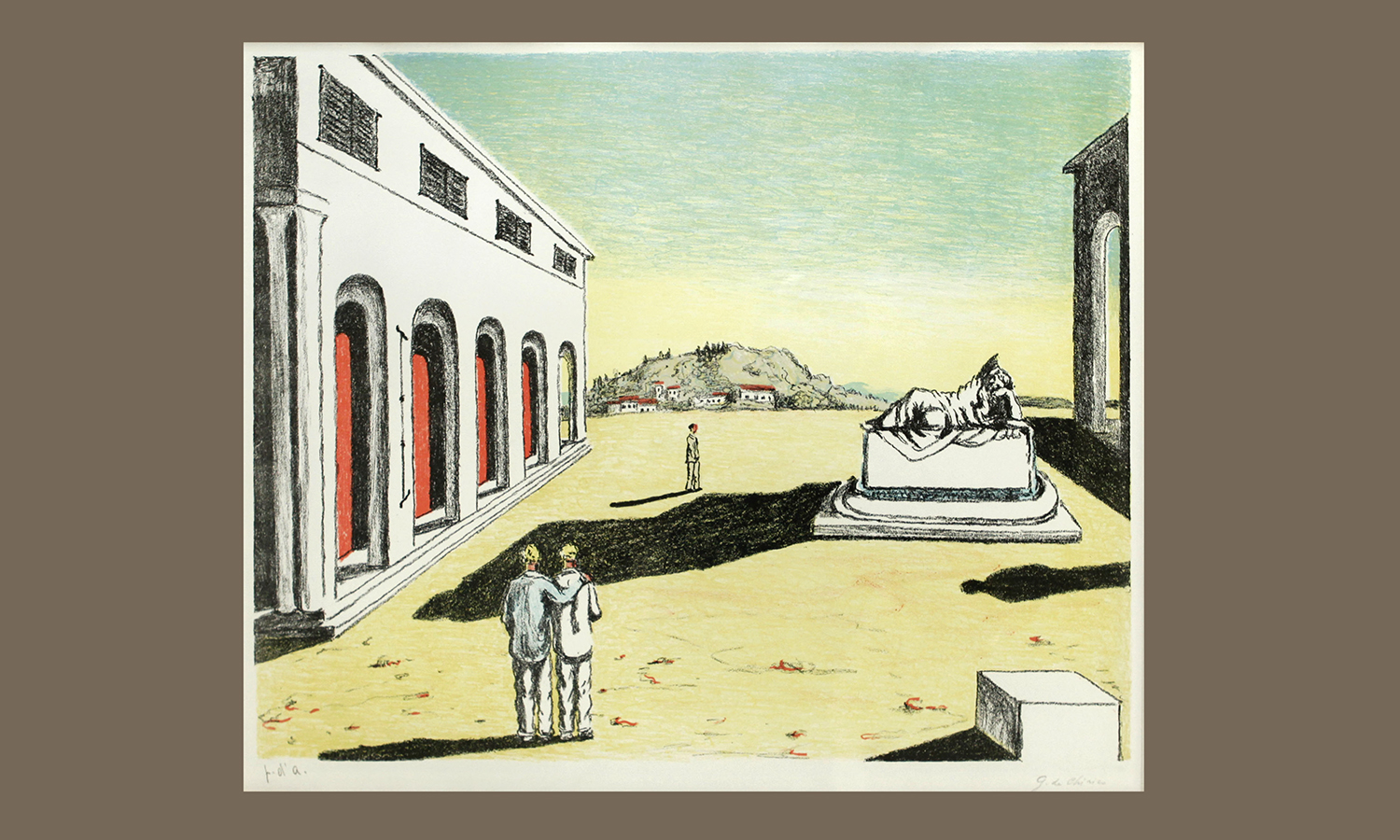 """Giorgio de Chirico (1888-1978, Italy)""""Ritorno d'Autumno, 1969. Lithograph, 46 x 59 cm. Gift of  Robert North in memory of  Marion de Mauriac North '32. hws-d-35. © 2012 Artists Rights Society (ARS), New York / SIAE, Rome"""
