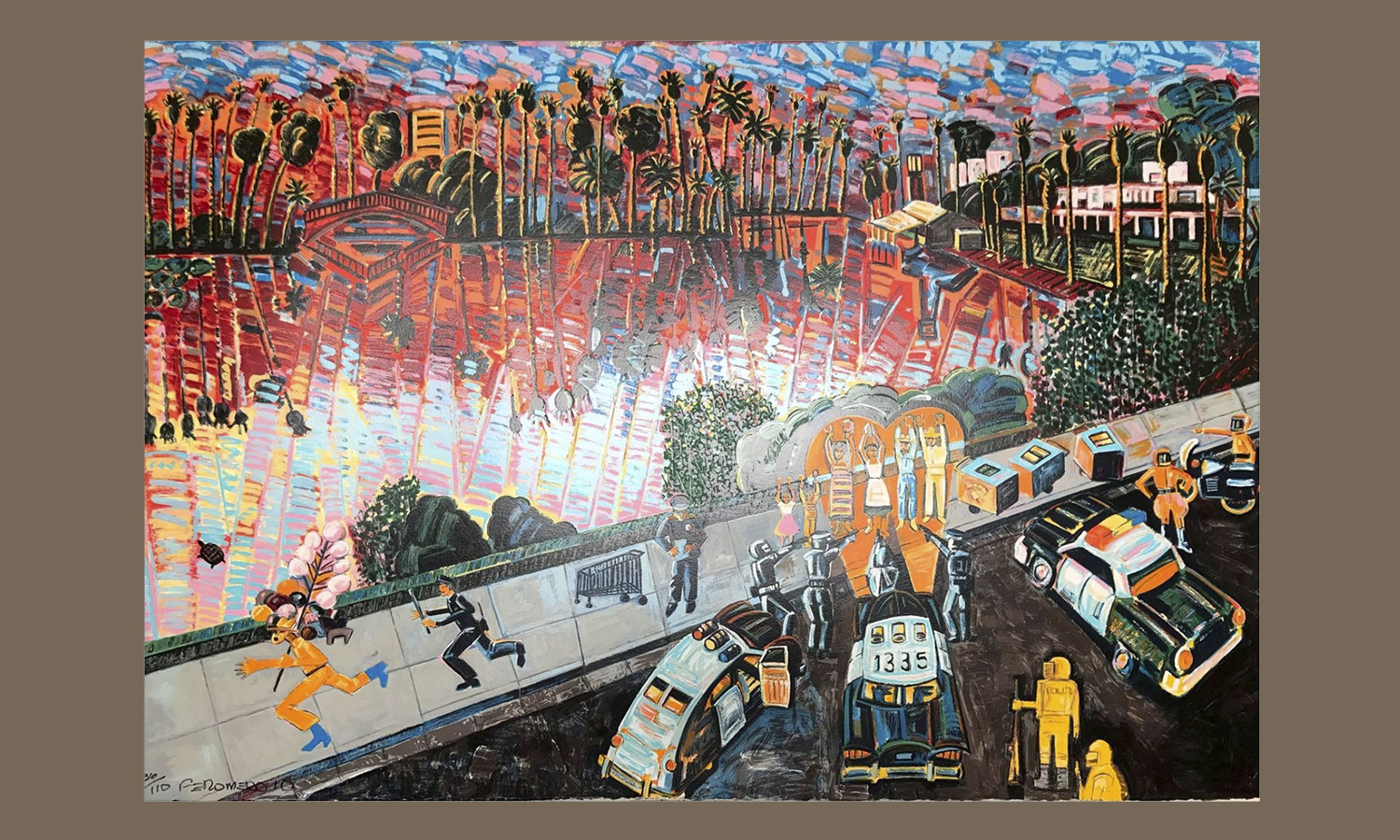 """Arrest of the Paleteros,"" 32 color serigraph, by Frank Romero in 2010, Gallery purchase, Freinds of Houghton - Paula Kalenik '71"
