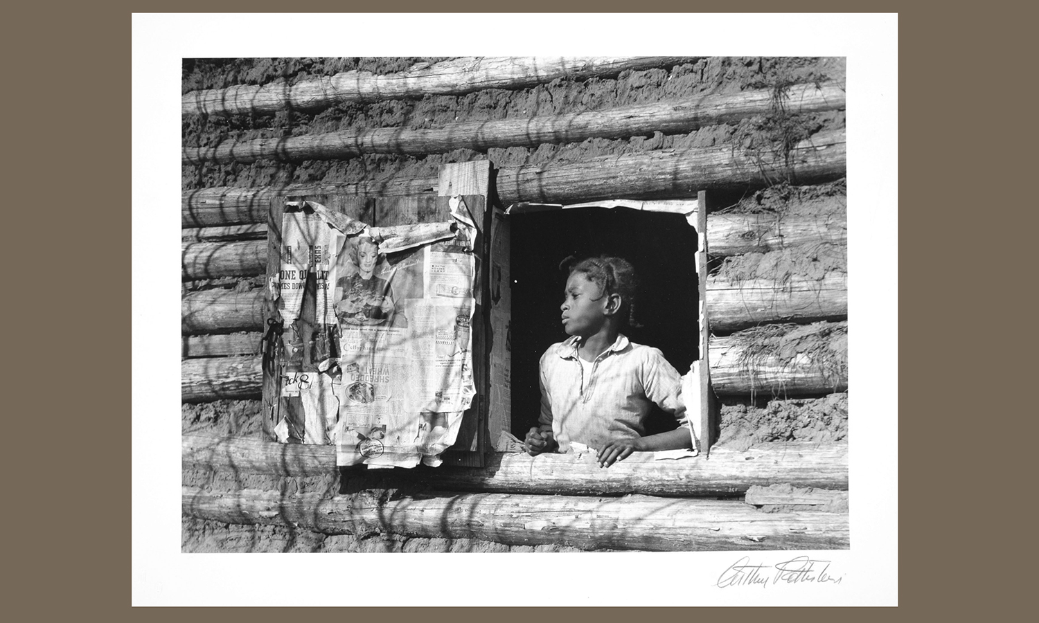 """Arthur Rothstein (1915-85, U.S.) Girl""""at Gee's Bend, Alabama. 1937. Gelatin silver, 28 x 35 cm. Edition 50. Gift of  Lewis W. Siegel '70. hws-r-54"""